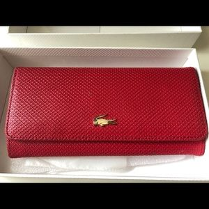LACOSTE LEATHER RED WALLET
